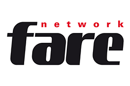 The Fare Network logo - bold black 'fare' text, on top of which there is the text 'network' which is smaller and red