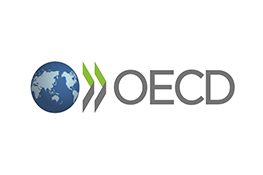 The Organisation for Economic Cooperation and Development logo - a globe with two grey and green arrows pointing to the grey text 'OECD'.
