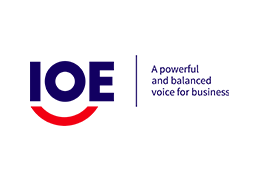 International Organisation of Employers logo - blue 'IOE' text on top of a red arc, next to a vertical blue line and the text 'A powerful and balanced voice for business'.