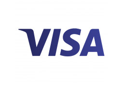 The Visa logo - blue 'VISA' text on a white background.