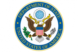 Government of the United States of America logo - a crest with an eagle and american flag surrounded by a blue circle stating 'Department of State. United States of America'.