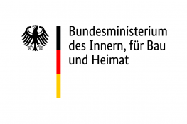 Government of Germany logo - a black eagle next to a block of black, yellow and red, then the black text 'Bundesministerium des Innern, für Bau und Heimat'