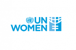 The UN Women logo - a blue globe and the blue text 'UN Women' next to some blue shapes that resemble half a globe on a stand