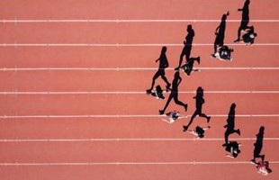 Birds-eye views of athlete running on track, featuring their silhouettes aligned across the ground.