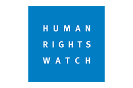 Human Rights Watch logo - the white text 'Human Rights Watch' in a blue square