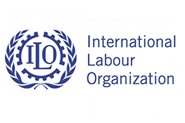 The International Labour Organisation logo - A blue crest with the text 'ILO' in the centre, next to the blue text 'International Labour Organization'.