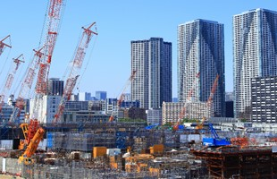 A wide angle image of Tokyo Olympic Village under construction.
