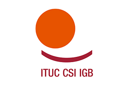 The International Trade Union Confederation logo - a red circle on top of a darker red arc, on top of the red text 'ITUC CSI IGB'.