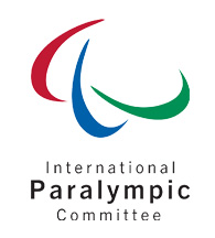 International Paralympic Committee logo - 'International Paralympic Committee' in black text underneath three multicoloured arcs.