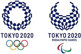 The Tokyo 2020 Olympic & Paralympic Games logos - a ring made up of blue and white squares above the text 'Tokyo 2020' and the Olympic rings